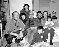 Tom and his father Bill with the Tomabechi family