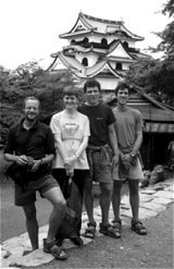 Tom, Lynne, Ben and Paul against Hikone castle