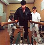 Sadek Calaca, who lost his leg in Gorazde, learns to walk again