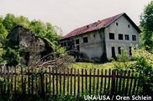 A mined school along the former confrontation line in Skipovac, Bosnia and Herzegovina
